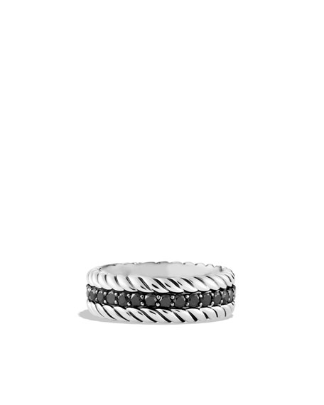 Pavé Cable Band Ring with Black Diamonds