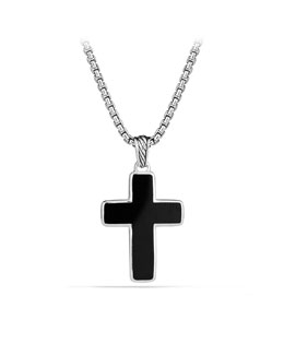 David Yurman Exotic Stone Small Reversible Cross with Black Onyx on Chain