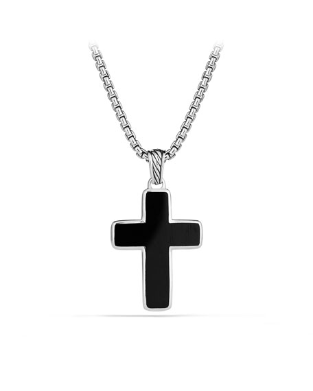Exotic Stone Small Reversible Cross with Black Onyx on Chain
