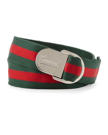 Script D-Ring Belt, Green
