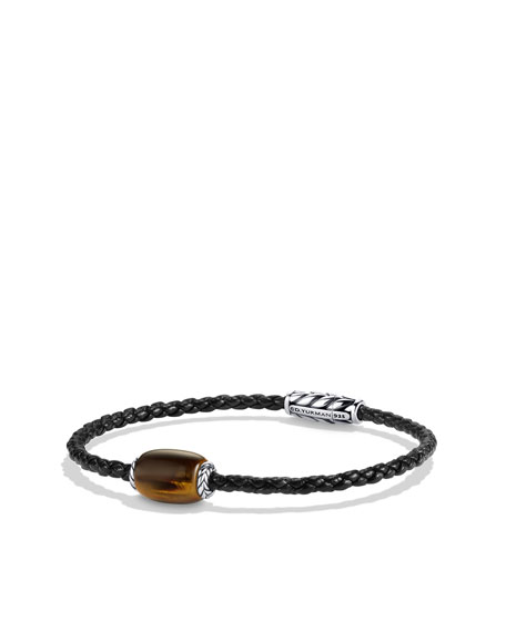 Chevron Woven Leather Bracelet with Tiger's Eye