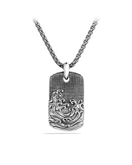 David Yurman Waves Tag on Chain with Gray Titanium