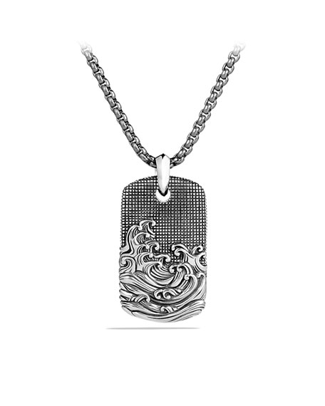 Waves Tag on Chain with Gray Titanium