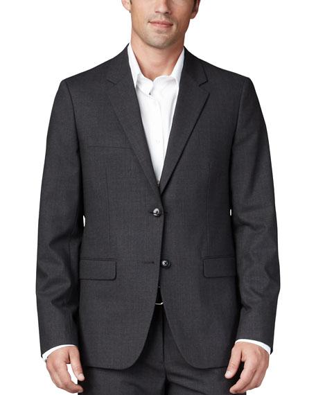 Stretch-Wool Sport Coat, Charcoal