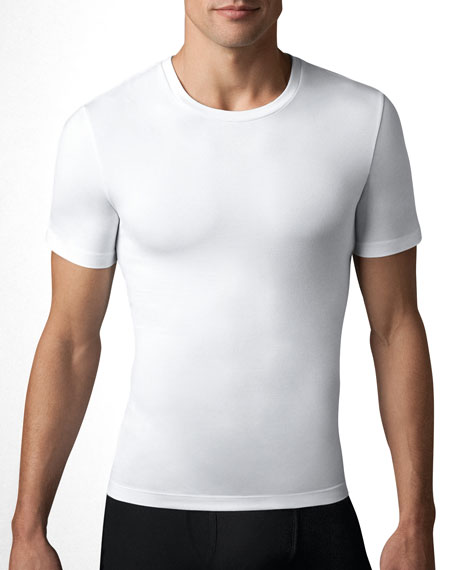 Cotton Compression Crew-Neck Tee, White
