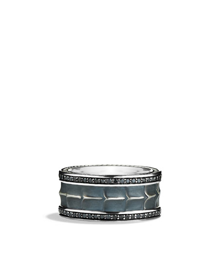 Armory Wide Band Ring with Black Diamonds
