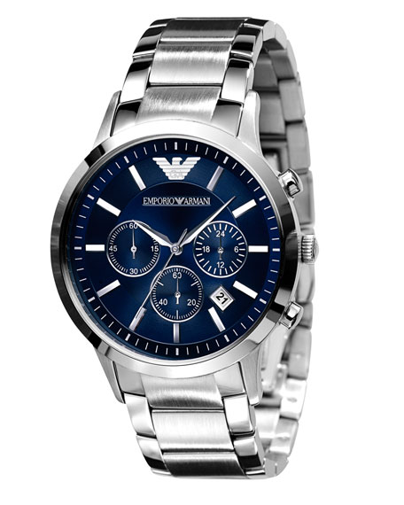 Stainless Steel Chronograph, Blue