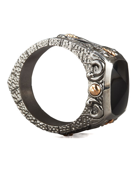 Lg Inlay Signet Ring Onyx