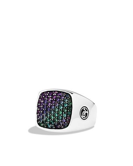 Signet Ring, Color Change Garnets, 18.6mm