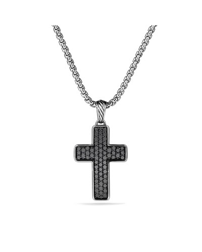 Pavé Chevron Cross with Black Diamonds on Chain