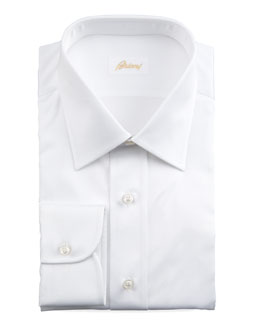 Brioni Barrel-Cuff Dress Shirt, White