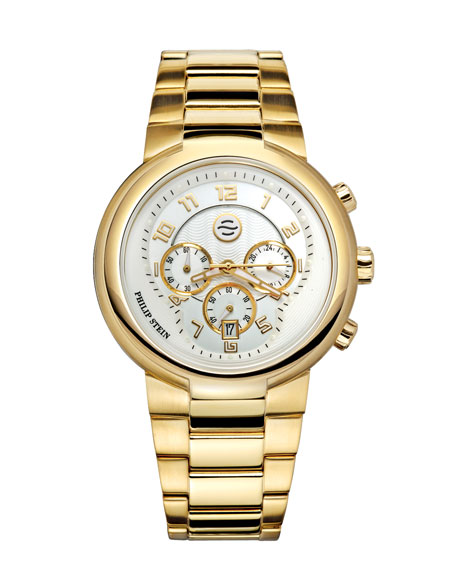 Gold Active Chronograph Watch on Gold Bracelet