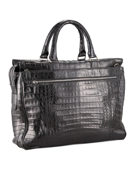 Zip-Top Crocodile Briefcase, Black