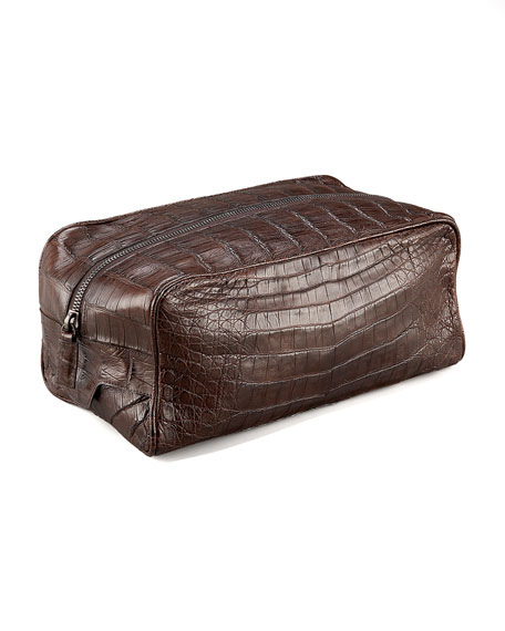 Zip-Top Crocodile Toiletry Bag, Brown