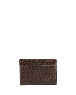 Santiago Gonzalez Crocodile Card Case, Brown