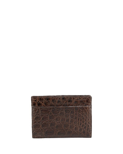 Santiago Gonzalez Crocodile Card Case, Brown
