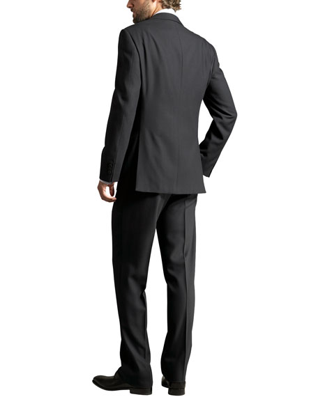 Two-Button Wool Crepe Suit, Navy