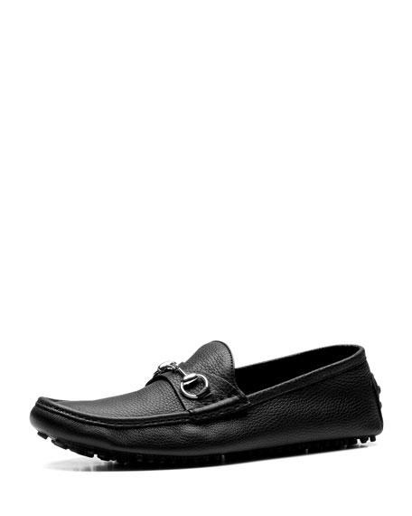 Gucci Damo Leather Horsebit Driver, Black