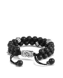 David Yurman Spiritual Beads Two-Row Bracelet with Black Onyx