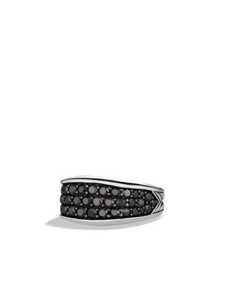 Chevron Narrow Three-Sided Ring with Black Diamonds