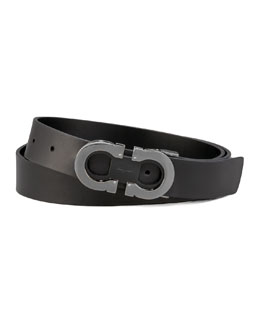 Salvatore Ferragamo Double-Gancini Belt, Black