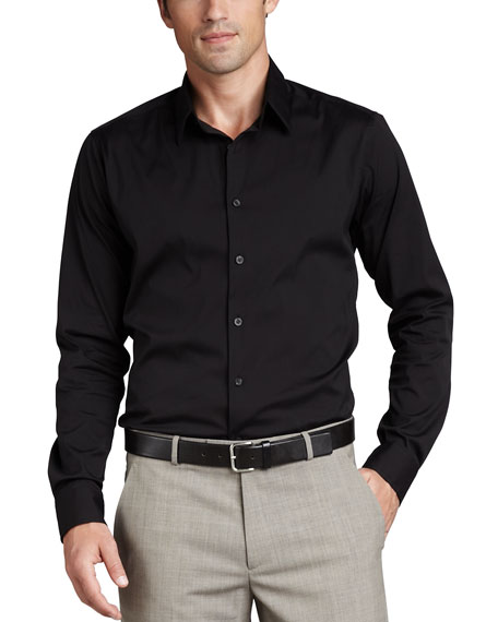 Stretch-Cotton Shirt, Black