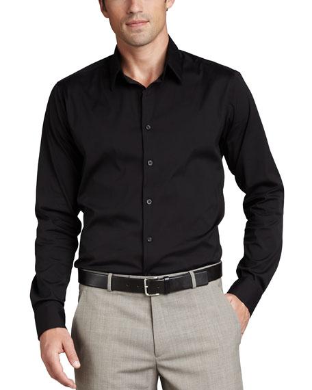 Stretch-Cotton Shirt, Black