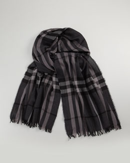 Burberry Crinkled Check Scarf, Charcoal