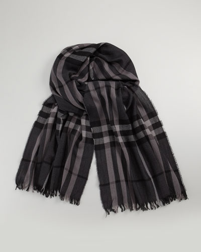 Men's Cashmere-Wool Blend Crinkle Scarf, Dark Chocolate Check