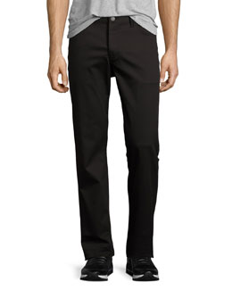 Theory Straight-Leg Twill Pants, Black