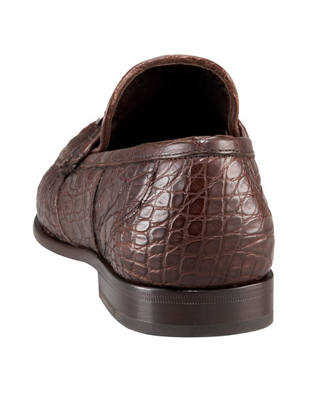 Crocodile Bit Loafer, Brown