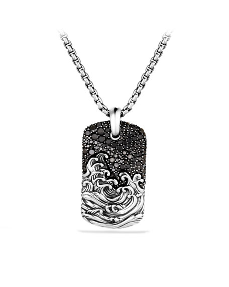 Waves Tag with Black Diamonds on Chain