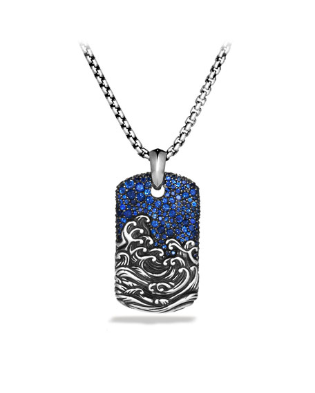 Waves Tag Necklace, Pave Sapphires