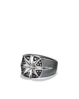 David Yurman Maritime North Star Signet Ring with Black Diamonds