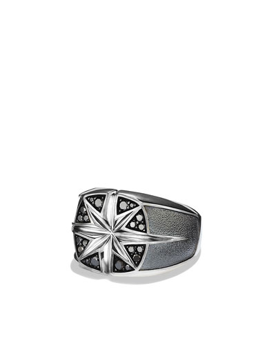 David Yurman Maritime North Star Signet Ring with Black Diamonds