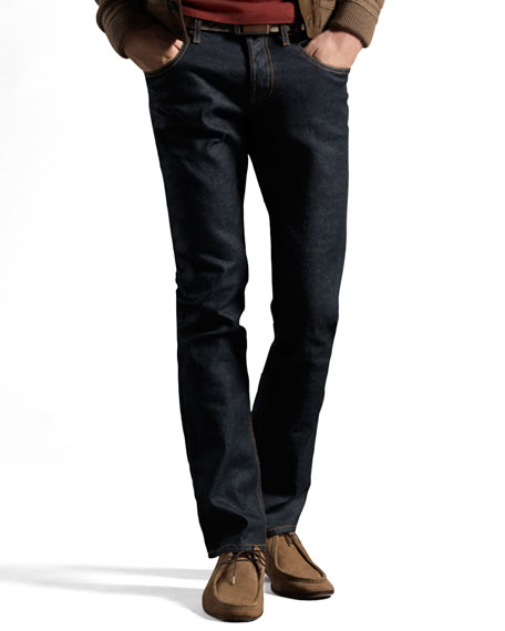 Stretch Denim Jeans with Horsebit