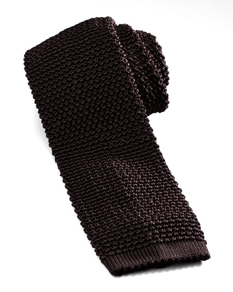 Knit Silk Tie, Brown
