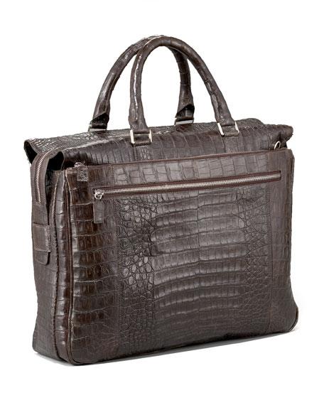 Zip-Top Crocodile Briefcase, Matte Brown