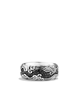 David Yurman Waves Wide Band Ring with Black Diamonds