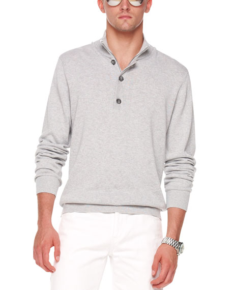 Button/Zip Sweater, Gray