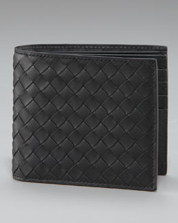 Bottega Veneta Basic Woven Wallet, Black
