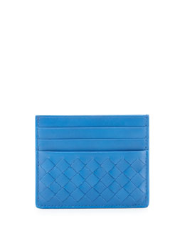 Bottega Veneta Flat Woven Card Case, Black