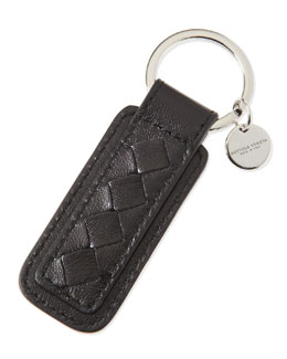 Bottega Veneta Intrecciato Key Ring, Black