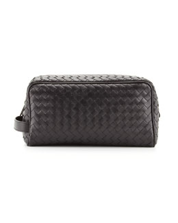 Bottega Veneta Woven Leather Dopp Kit, Black