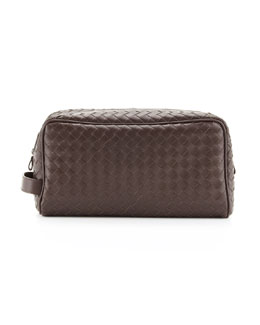 Bottega Veneta Woven Leather Dopp Kit, Brown