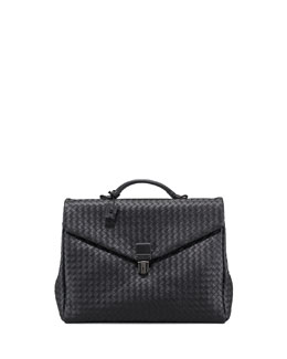 Bottega Veneta Two-Gusset Woven Briefcase, Black