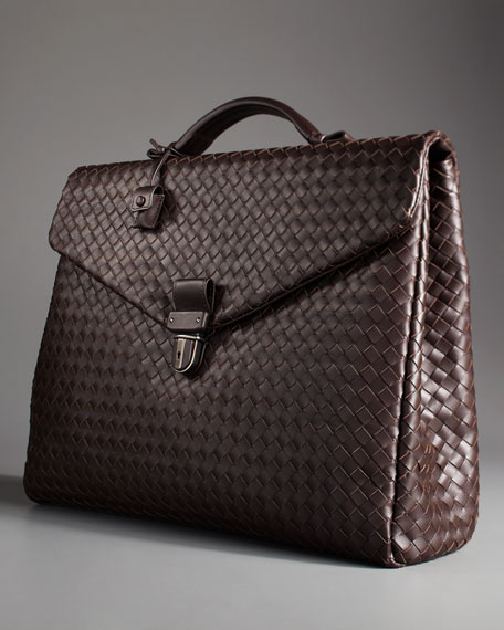 Two-Gusset Woven Briefcase, Brown