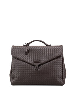 Bottega Veneta Two-Gusset Woven Briefcase, Brown