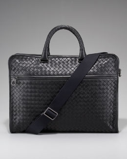 Bottega Veneta Slim Woven Briefcase, Black