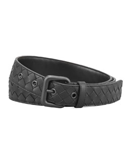 Bottega Veneta Woven Leather Dress Belt, Black